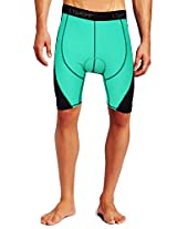 Lycot 5T Active Compression Padded Cycling Shorts Base Layer Running Tights for Mens & Women C.Green/Navy Blue 4XL