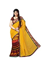 Shree Sanskruti Embellished Georgette Yellow Color Saree For Women With Blouse Piece