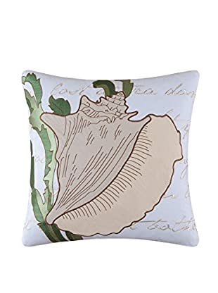 Embroidered Conch Shell Pillow, White/Natural/Green