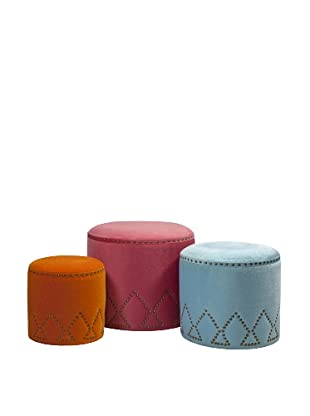 Set of 3 Mickie Ottomans