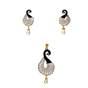 Daamak Jewellery Peacock And Pearl Pendant Set jewellery Set