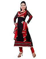 Manvaa Women Georgette Dress Material (Ksyr1002 _Black Red)