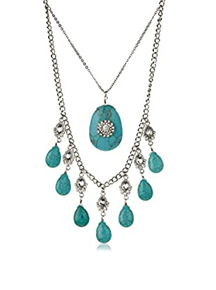 Bijou Double Strand Turquoise and Crystal Necklace