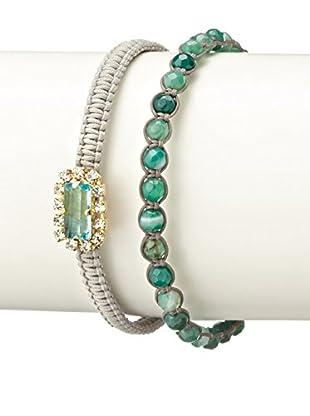 Tai Grey & Green Bead & Rhinestone Two-Piece Bracelet Set
