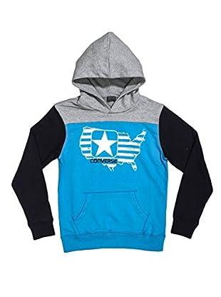 Converse Sudadera Logo Flag Boy Hd (Turquesa / Azul Marino / Gris)