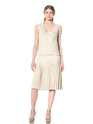 Vera Wang Women's Pleated Shift Dress (Ivory)