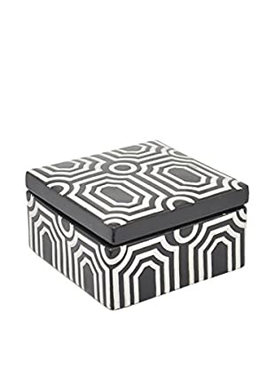 Three Hands Ceramic Box, Black/White