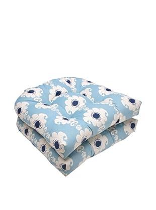 Waverly Sun-n-Shade Set of 2 Rise and Shine Pool Wicker Seat Cushion (Navy/Aqua/Cream)