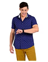 Sting Blue Solid Slim Fit Half Sleeve Cotton Casual Shirt -SG0009B257HS