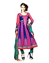 B3Fashions Partywear Embroidered semistiched Cotton Anarkali Suit with Georgette Full Sleeve
