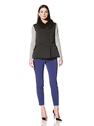 Derek Lam Women's Down Vest with Fur Collar (Black)