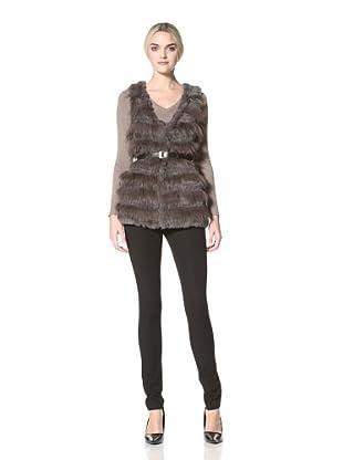 Badgley Mischka  Women's Kris Rabbit Fur Vest (Grey)