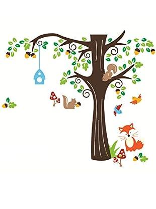 Ambiance Live Vinilo Decorativo Nut tree and fox Multicolor