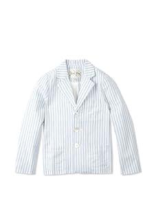 Rachel Riley Boy's Striped Linen Blazer (Blue/Ivory)