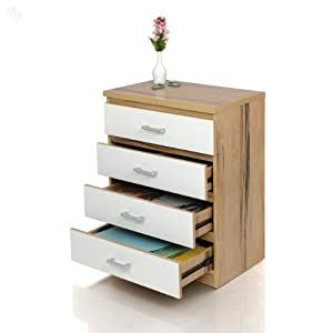 Chest of Drawers with White and Natural Finish 4 Drawers - Norrwood