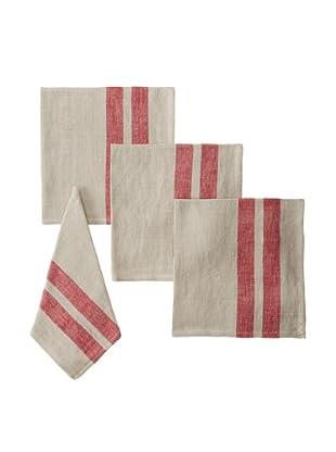 Found Object Lille Set of 4 Linen/Cotton Napkins, Khaki/Red