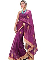 Exotic India Purple-Wine Chanderi Saree with Hand-woven Parrots - Purple