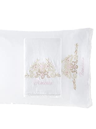 Pom Pom at Home Pair of Amour/Bonheur Pillowcases (White/Pink)