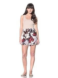 MARNI Women's Floral-Printed Boxer Shorts (Hot Red/Grey)