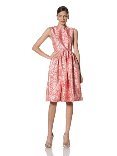Jonathan Saunders Women's Lucy Jacquard Round Neck Dress (Star New Red)