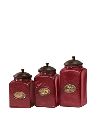 Set Of 3 Ceramic Canisters, Red