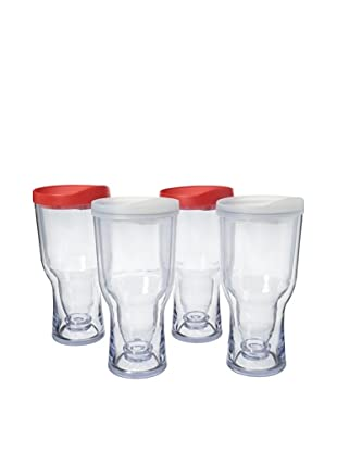 AdNArt Set of 4 Brew to Go (Red/White)