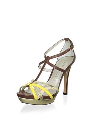 Pura López Women's T-Strap Platform Sandal (Vernice Amarillo)
