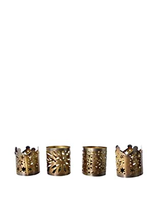 Set of 4 Tea Light Holders, Brass