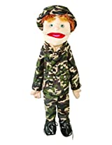 "Sunny Toys 28"" Brunette-Haired Boy In Army Uniform Hand Slit Puppet"