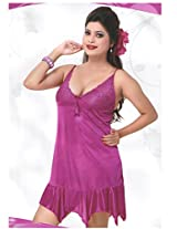 Indiatrendzs Bridal Nighty Sexy Dark Pink 2pc Set Silk Satin G-String Lingerie