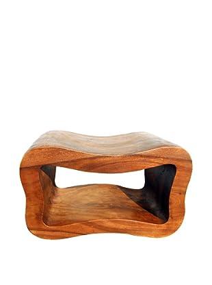 Asian Art Imports Wavy Peanut Stool, Brown Wood Tone