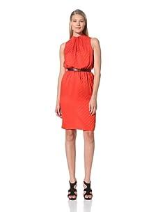 MARTIN GRANT Women's Gathered Neck Dress (Tangerine)