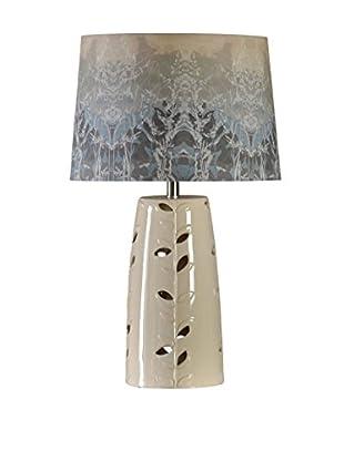 StyleCraft Bryan Keith Design Ceramic 1-Light Table Lamp With Fabric Print Shade, Multi