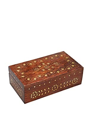 Mela Artisans Leaves of Gold Decorative Box, Brown/Gold