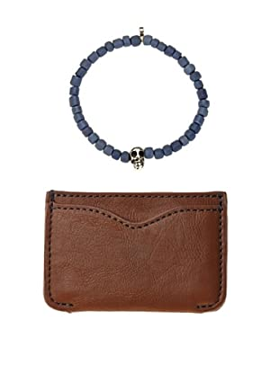 Men In Cities Cognac Wallet & Grey Tibetan Mask Bead Bracelet Set