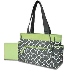 Gerber Diaper Tote Bag Green Trim Giraffe
