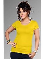 Clifton Bright Yellow Plain Women T Shirt Aaa00008681 85