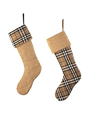 Napa Home & Garden Set of 2 Plaid & Burlap Stockings, Camel/Black