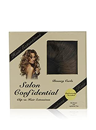 Salon Confidential Bouncy Curl Clip-In Hair Extensions Mid-Brown With Lightened Tips