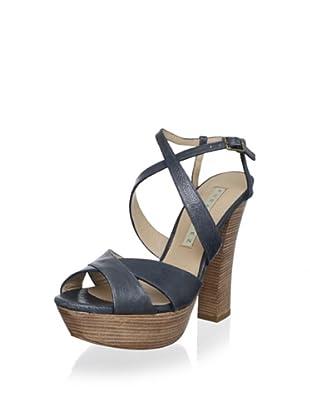 Pura López Women's Crisscross Platform Sandal (Metal Free Blue)