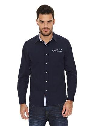 Replay Camisa Lisa Logos (Azul Marino)