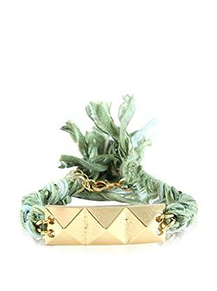 Ettika Green Vintage Ribbon Bracelet with 18K Gold-Plated Pyramid Row Charm
