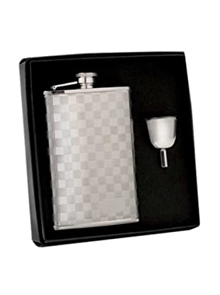 Wilouby Checkered Stainless Steel Flask in Gift Box with Funnel