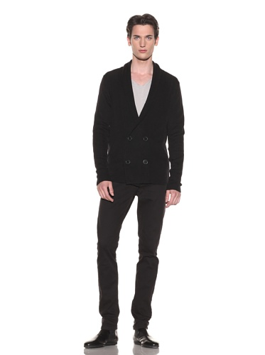 Halston Men's Double-Breasted Shawl Collar Sweater (Black)