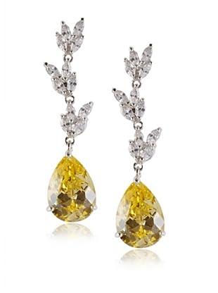 CZ By Kenneth Jay Lane Foliate Drop Pear Post Earrings, Silver, One Size