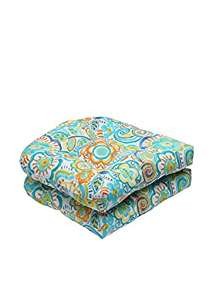Pillow Perfect Set of 2 Indoor/Outdoor Bronwood Caribbean Wicker Seat Cushions, Multi