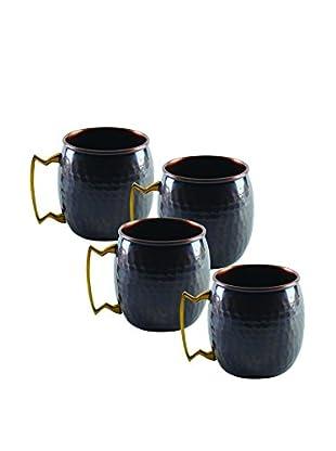 10 Strawberry Street Set of 4 Mini Antique Mugs, Copper