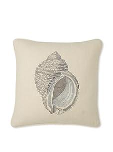 """D.L. Rhein Nautilus Embroidered Linen Pillow, Taupe/Metallic, 20"""" x 20"""""""