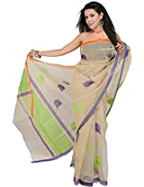 Exotic India Crme-Brulee Net Saree with Woven Indian-Oak Leaves - Off-White
