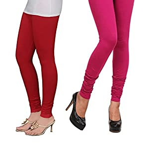Stylobby Red and Pink Cotton Lycra pack of 2 Leggings